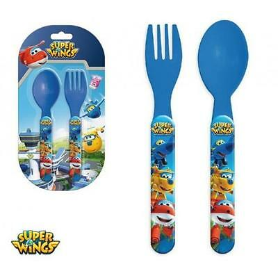 SET PAPPA Posate in Plastica - Cucchiaino e Forchetta - SUPER WINGS -