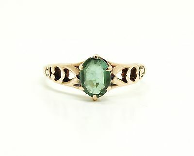 Antique 19c Victorian Solid Gold Filigree Faceted Green Stone Ring