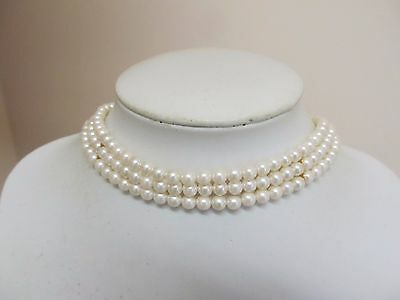 3 Strand Faux Pearl Choker Necklace