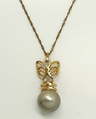 Vintage 1990s 18K Gold Tahitian Black Pearl Butterfly Motif Pendant Necklace