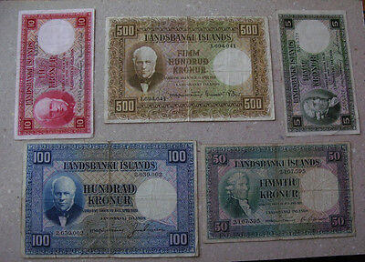 ICELAND# 500,100,50,10,5 kr, 3 issue. 1928.Rare notes.Circulated.