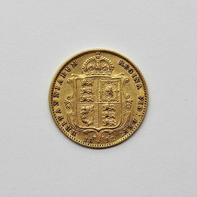 1892 Victoria Shield Back 22ct Gold Half Sovereign Coin