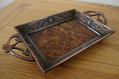 Art Nouveau Arts & Crafts Bronze Style Burr Wood Inlaid Calling Card Pin Tray