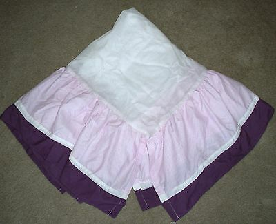 Tiddliwinks PLUM BUTTERFLY Pink Purple CRIB SKIRT Dust Ruffle EXCELLENT!