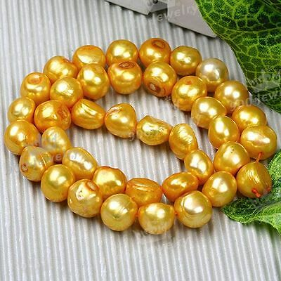 10-11Mm Cultured Freshwater Gold-2 Nugget Pearl Beads