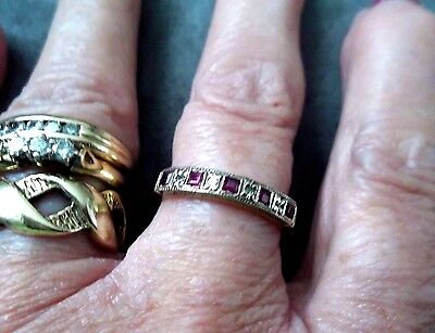 Vintage 18Ct Gold Square Cut Ruby & Rose Cut Diamond Eternity Ring Size P1/2