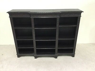 Victorian Carved Oak Breakfront Library Bookcase