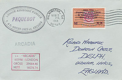 Tonga 4475 - Used in WILMINGTON, CALIFORNIA  1 968  PAQUEBOT cover to UK