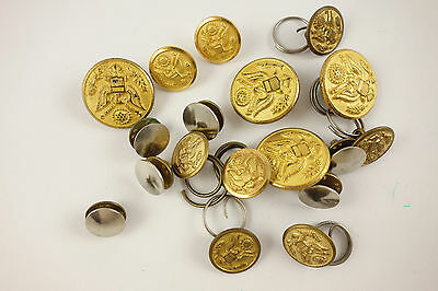 Lot of Vintage Waterbury Scoville WWII WWI Eagle Buttons Brass