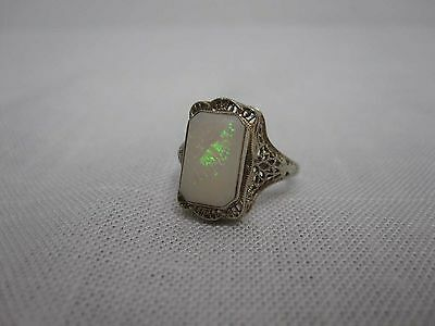 Antique Estate 14K White Gold Filigree Opal Ring ~ Size 5 1/4