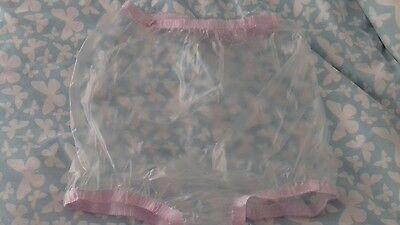 Adult baby soft clear  vinyl shorts pants /nappy covers(thick  pink elastic)