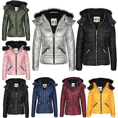 Girls Jacket Kids Cropped Padded Puffer Bubble Fur Collar Warm Thick Coats 3-13Y