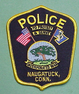 Naugatuck  Connecticut  Ct  ( Black Background )  Police Patch  Free Shipping!!!