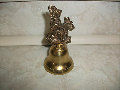 House of Global Art Scottish Terrier Scotty Dog Solid Brass Bell Made in England