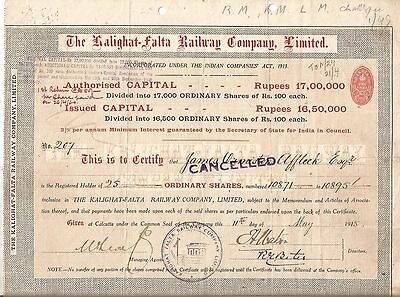 1915 India share certificate: The Kalighat-Falta Railway Company Limited