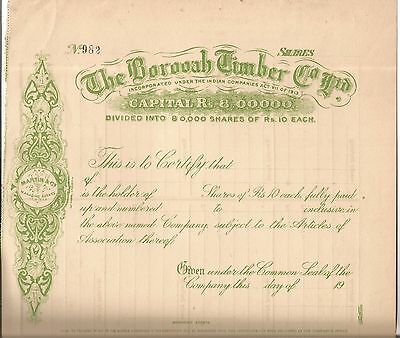 India share certificate: The Borooah Timber Co Ltd