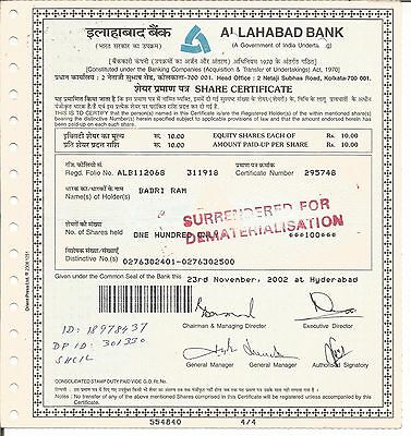 2002 India share certificate: Allahabad Bank(Government of India Enterprise)