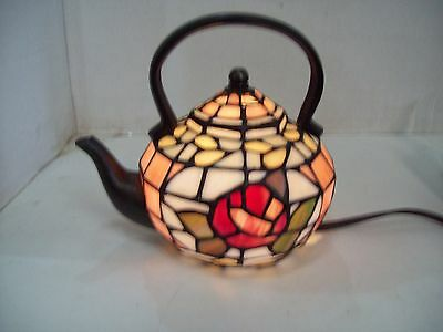 Stained Glass Teapot Accent Lamp Tiffany Style Design Night Light Table Kettle
