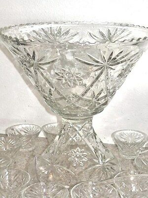 Anchor Hocking Early American Prescut EAPG Crystal Glass Punch Bowl & Stand Set