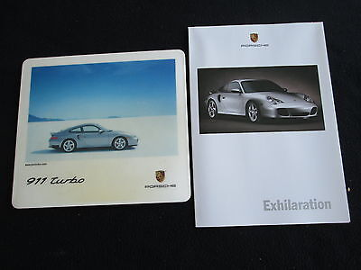 2001 Porsche 911 Turbo Original Mouse Pad & 996 Turbo Foldout Poster Brochure