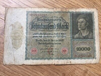 German 10,000 Mark Banknote Dated 19 January 1922