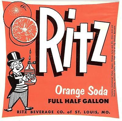 Ritz Orange Soda Unused Label Ritz Beverage Co. St. Louis Missouri Half Gallon