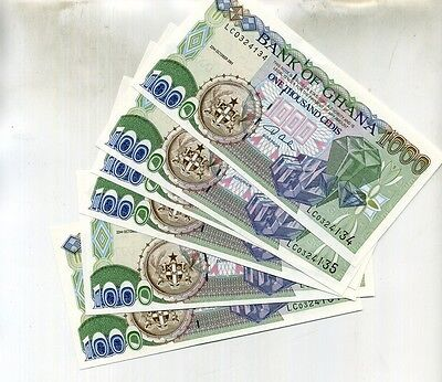 Ghana 2001 1,000 Cedis Currency Note Lot Of 6 Consecutive