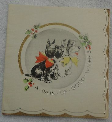 A Pair Of Good Wishes Scottish Terrier And Terrier Christmas Card