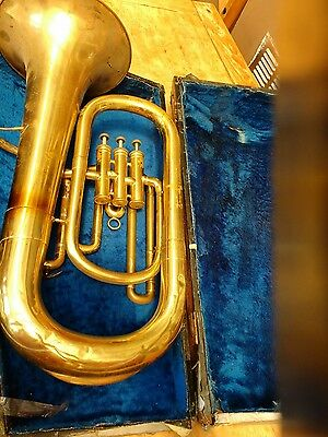 A vintage brass euphonium from China in old original case