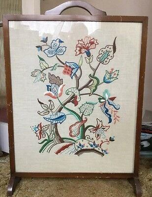 """Vintage fire screen. Embroidered. 1940""""s?"""