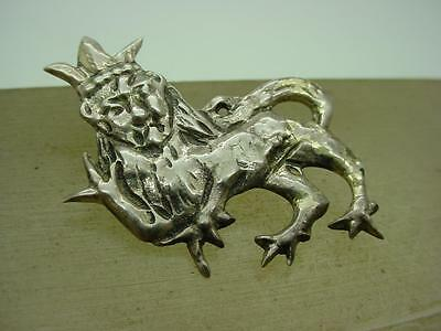 Vintage English Silver Heraldic Lion Pin Brooch Hallmarked in Chester 1948