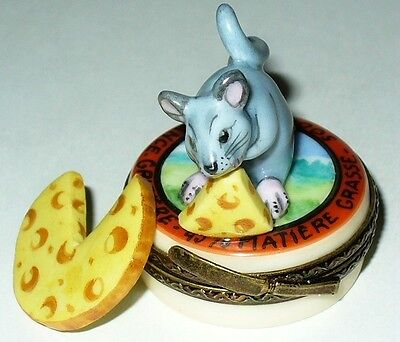 Limoges Box- Mouse & Swiss Cheese On A Container Of French Cheese - Wedge Inside