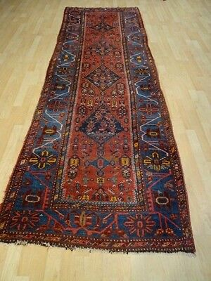 """PERSIAN HALL RUNNER CARPET RUG HAND MADE Antique WOOL  10FT X 3FT 4"""" C 1900"""