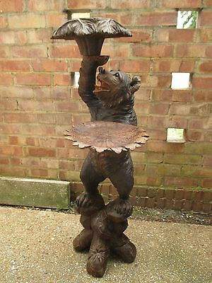 "Antique Quality Large 41"" Black Forest Standing Waiter Bear Swiss Wood Carving"
