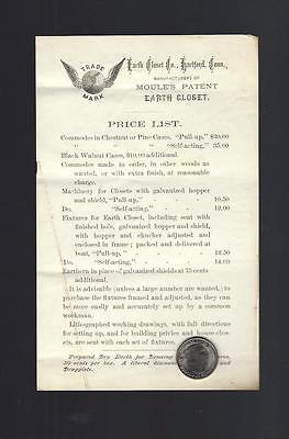 Vintage 1890's? Moule's Earth Closet Price List, Toilets, Commode, Hartford, CT