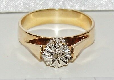 Vintage 9ct Yellow Gold Diamond Solitaire Engagement Ring - size N