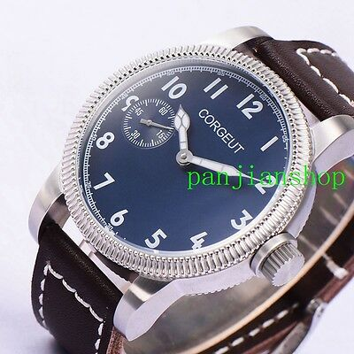 46mm corgeut blue dial leather Band 6497 movement hand winding mens wrist watch