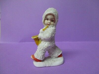 "2""T - Old Germany Christmas Porcelain Snowbaby Playing Saxophone"