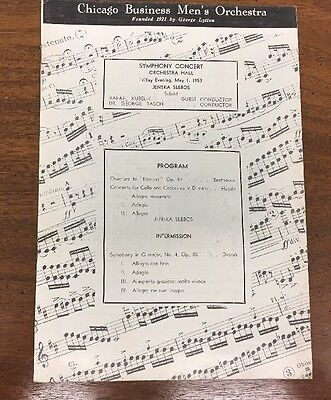 Chicago Business Men's Orchestra Symphony Concert May 1, 1953 Program