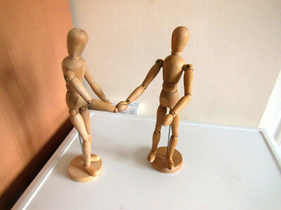 """Two Artists Wooden Manikin Mannequin Lay Figures Poseable Bendy Men-12"""" Tall x 2"""