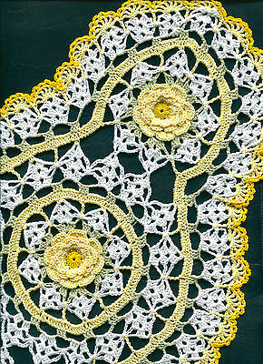 """Bright Yellow on White Crochet Oval Flower Doily Doilies approx. 11"""" x 18"""""""