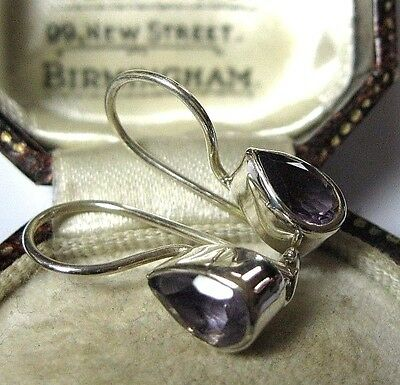 Vintage Edwardian Style French Wire Solid Silver Real Amethyst Stone EARRINGS