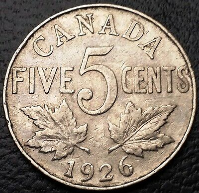 1926 Canada 5 Cents Nickel Coin ***Near 6 Variety*** Great Condition