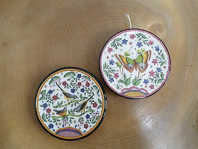 2 VINTAGE SPANISH ART POTTERY SMALL WALL PLAQUES Ceraplat Butterfly,MG Birds