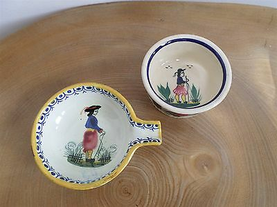 Vintage Hand Painted Henriot Quimper French Art Pottery Ashtray,small Bowl