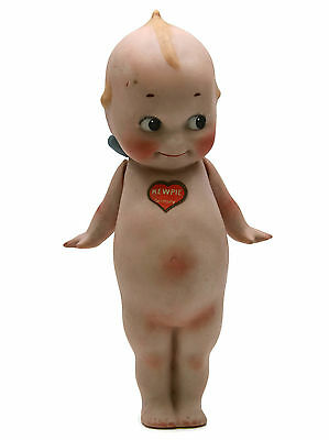 """Antique German Bisque Kewpie Doll Rosie O'Neill Decal On Chest Blue Wings 7-1/4"""""""