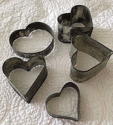 5 Vintage Primitive Tin Soldered Heart Shaped Cookie Cutters