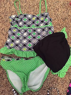 Girls Candies Black And Green Polka Dot 3-piece Swimsuit Size 12