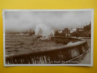 Rough Sea at KIRKCALDY Fife *Vintage* RP 1948 Quayside Buildings
