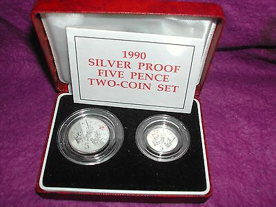 RARE 1990 silver proof 5p coins old large and new small in boxed set with COA